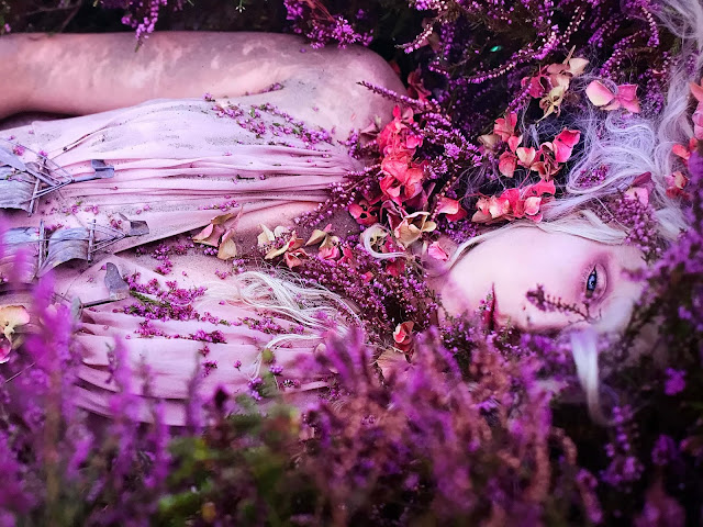 A blonde woman with striking blue eyes, dressed in a light purple dress, decorated with purple flowers, lying flat on her back in the purple heath.