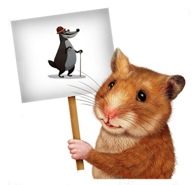 hamster holding grey badger sign picture