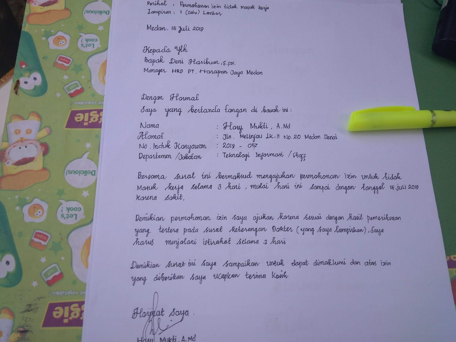 Contoh Surat Izin Sakit Tulisan Tangan Gudang Surat