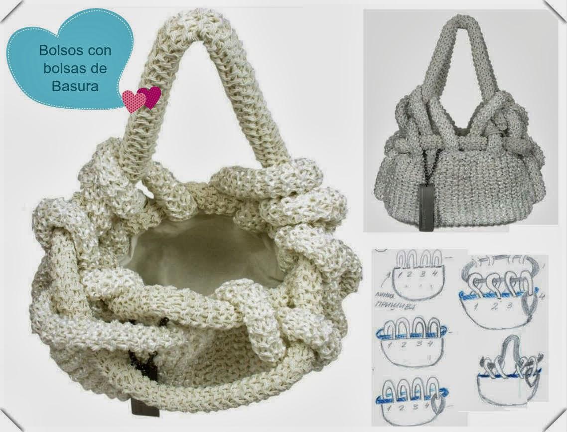 Bolsos tejidos con bolsas de basura detalle asas - Como hacer bolsos tejidos ...