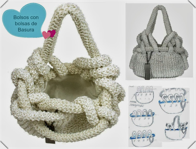 bolsos,bolsas, reciclar, bolsas de basura, diys, manualidades, labores