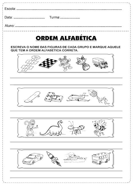 Ordem Alfabetica Atividade 3º Ano Atividades Educativas