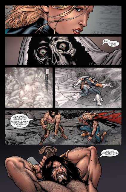 Susan kills taskmaster while Hercules picks up Thor's Hammer.