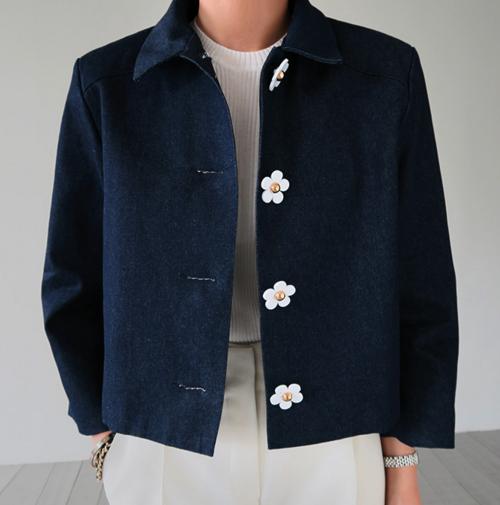 Flower Button Denim Jacket