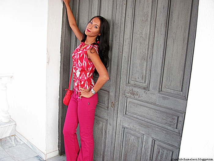 red and fuchsia pink outfit inspiration