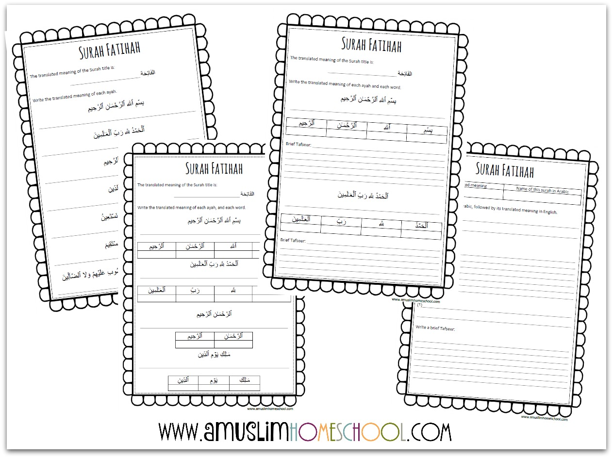 hight resolution of a muslim homeschool: Learning Surah Fatihah....and free printable worksheets !
