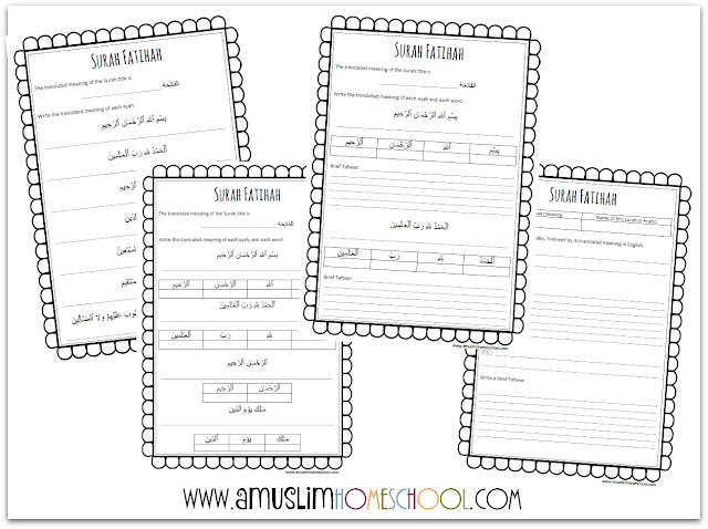 Printable Surah Fatihah worksheets with different level options