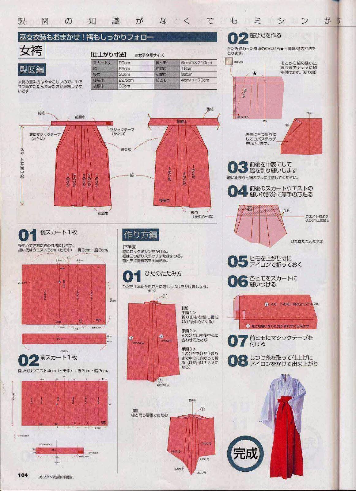 Algunos Patrones de costura para hacer una Hakama | Kagi Nippon He ...