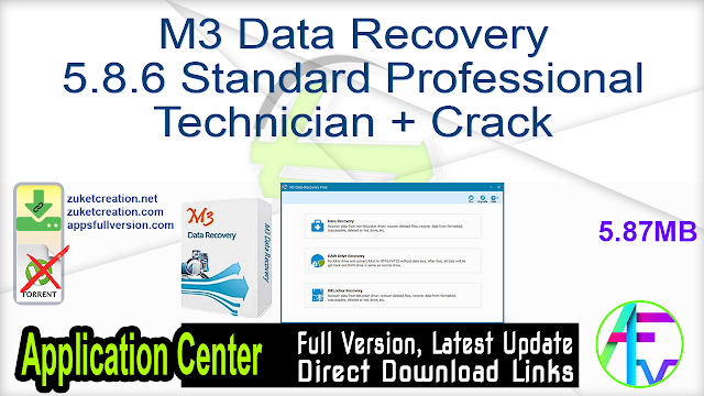 M3 Data Recovery 5.8.6 Standard Professional Technician + Crack