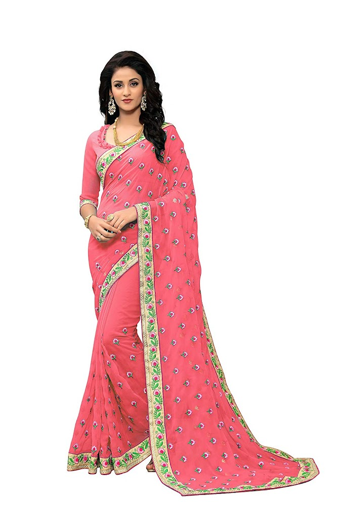 Online Fayda Women's Georgette Embroidered Saree with Blouse Piece