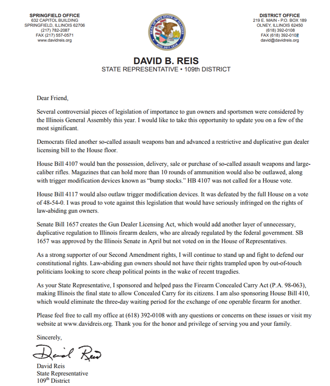 Illinois state representative david reis 2017 legislative update reis fights against unconstitutional gun control regulations aiddatafo Gallery