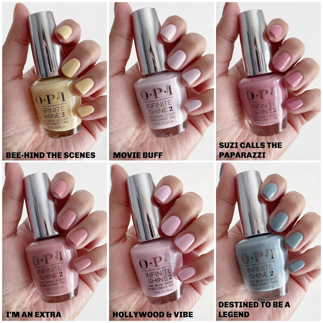 opi spring 2021, opi spring 2021 swatch, opi Hollywood swatches, opi Hollywood collection, opi spring collection, opi movie buff, opi I'm an extra