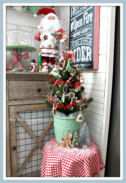Cottage-Farmhouse-Breakfast- Nook -Christmas- Decor-Mini-Tree-Gingerbread-Jadeite-Pioneer-Woman-From My Front Porch To Yours