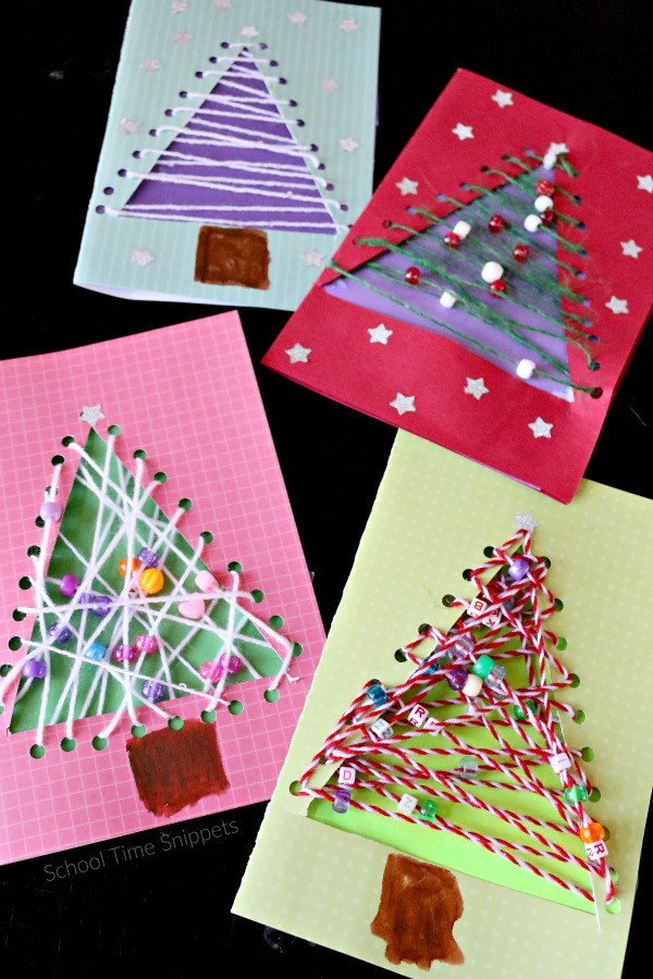 string art christmas tree cards for kids to make