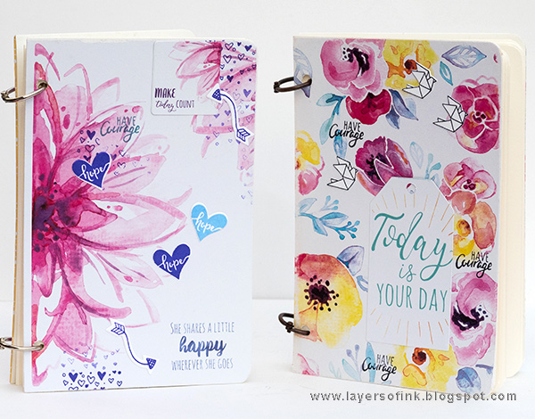 Layers of ink - Quick and Easy Handmade Notebooks Tutorial by Anna-Karin Evaldsson with Sizzix Planner Pages and More by Katelyn Lizardi