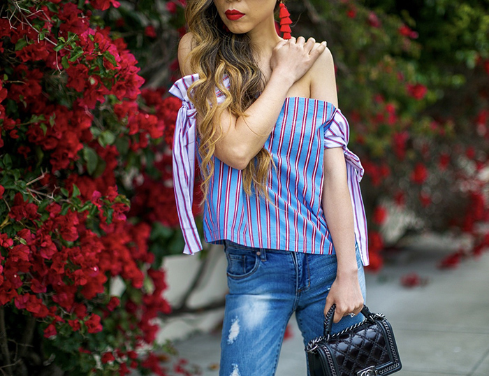 Nordstrom anniversary sale 2017, nordstrom anniversary sale, summer outfits, summer fashion, san francisco fashion blog, san francisco street style, stripe off shoulder bow top, chanel boy bag