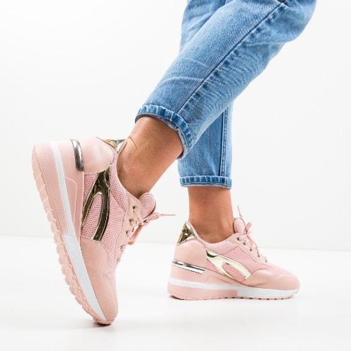 Pantofi sport roz cu plasa si insertii aurii