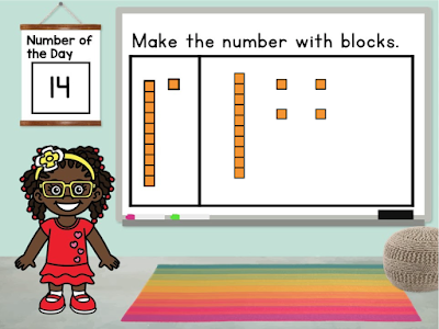 Building numbers with place value blocks is a great way to