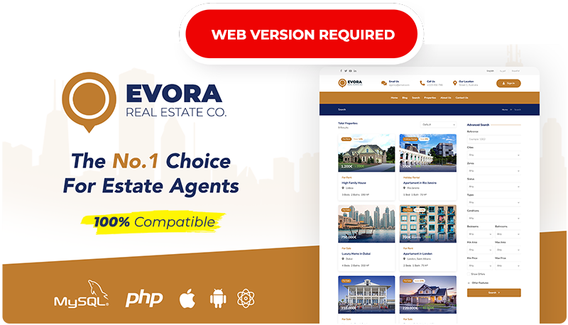 Evora - Real Estate Complete Solution React Native App - 1