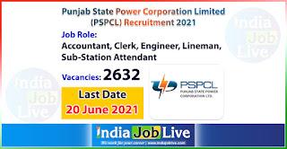 pspcl-recruitment-2021-apply-2632-posts-accountant-clerk-engineer-lineman-sub-station-attendant-job-vacancies-online-indiajoblive.com