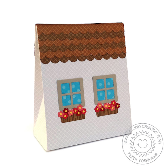 Sunny Studio Stamps: Sweet Treats Everyday Party Gift Bag with House Add-on (using Classic Gingham, Gingham Jewel Tones, Amazing Argyle & Polka-dot Parade 6x6 Patterned Paper)
