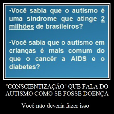 """Descrição da imagem #PraCegoVer: A imagem contém um print, contornado com moldura branca, com duas frases que dizem """"Você sabia que o autismo é uma síndrome que atinge 2 milhões de brasileiros?"""" e """"Você sabia que o autismo em crianças (sic) é mais comum do que o câncer, a AIDS e o diabetes?"""". Abaixo do print está escrito """"Conscientização que fala do autismo como se fosse doença: você não deveria fazer isso"""". Fim da descrição."""