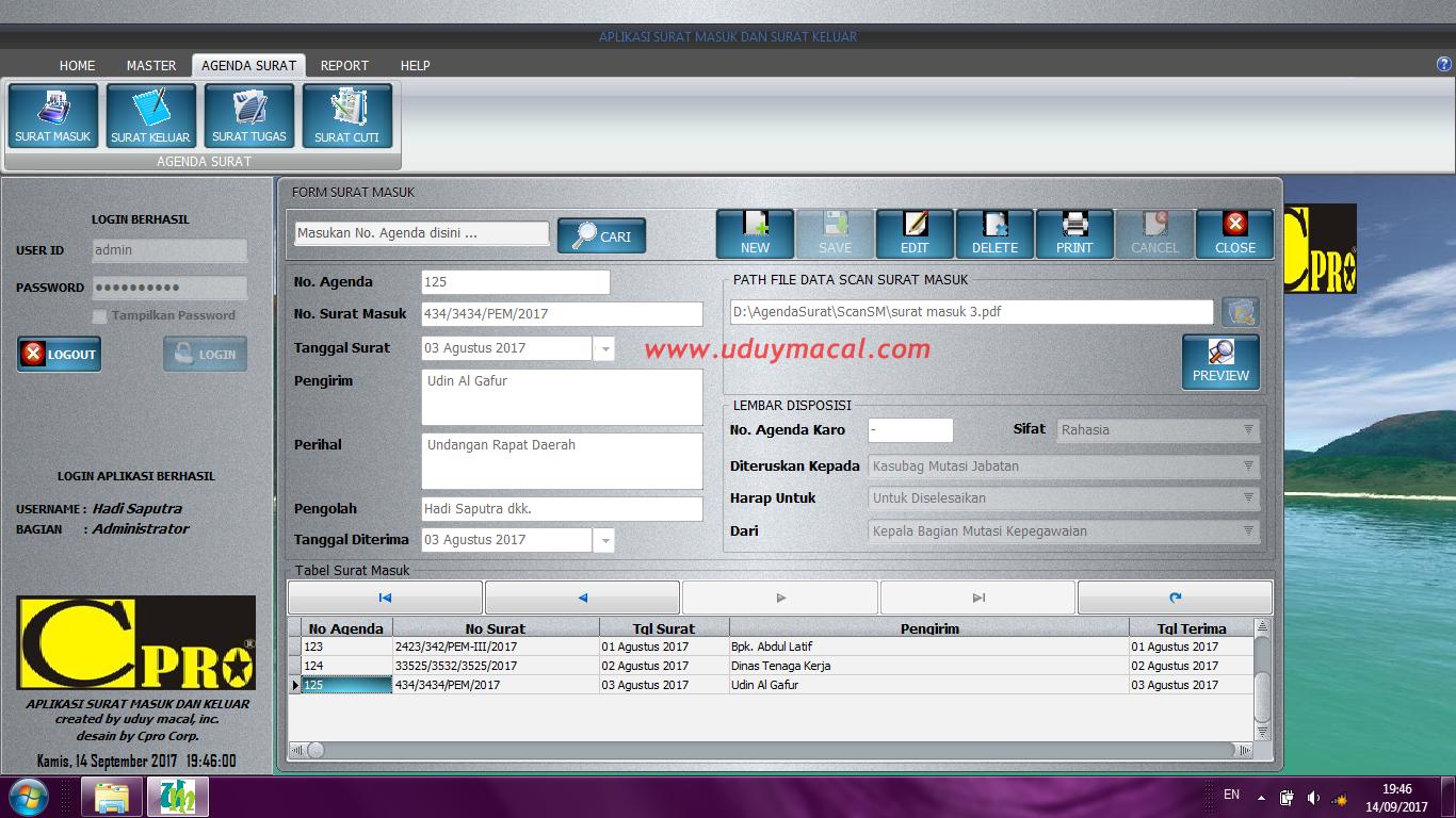 Aplikasi Surat Masuk Dan Surat Keluar Berbasis Desktop