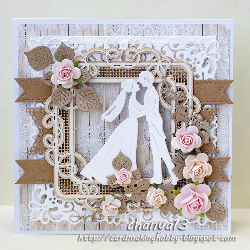 Скрап открытка льняная свадьба, конверты