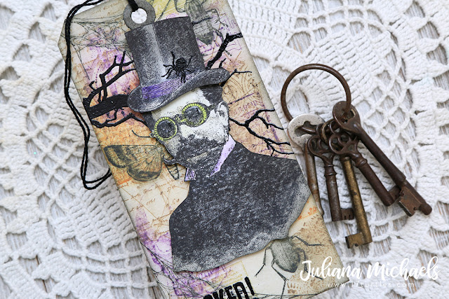 Wicked Halloween Tag featuring Stamp and Smear Background Technique with Distress Oxide Inks. Products used include Tim Holtz Stampers Anonymous stamps and Ranger Ink