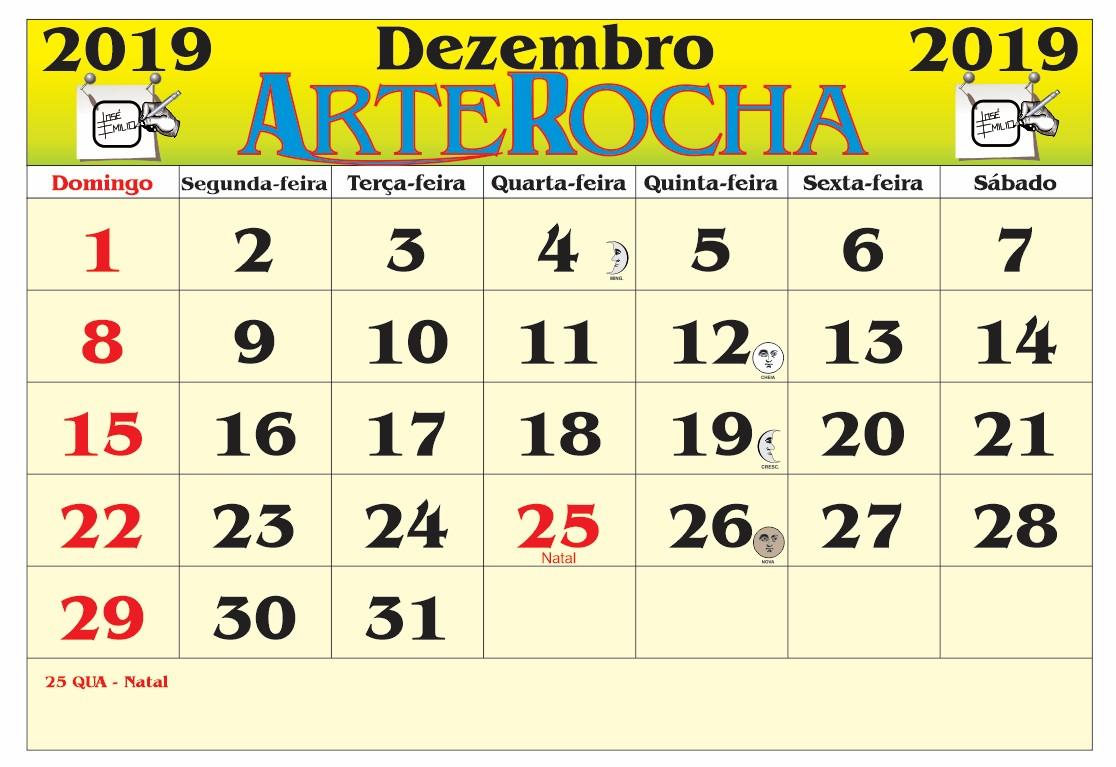 ARTEROCHA: CALENDÁRIO MÊS DE DEZEMBRO 2019