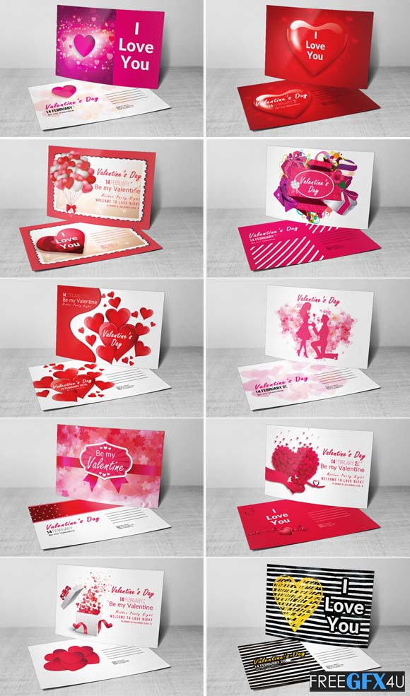 10 Valentines Day Flyer & Postcard PSD Pack
