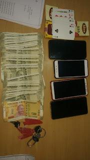 जुए के फड़ पर छापा, 3 जुआड़ी गिरफ्तार, 25 हजार 200 रूपये जप्त