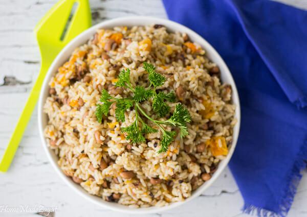 How to make black eye peas and Rice