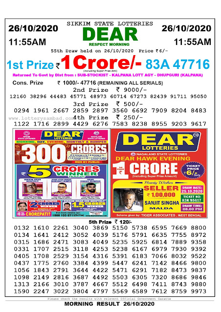 Sikkim State Lottery Result 26.10.2020, Sambad Lottery, Lottery Sambad Result 11 am, Lottery Sambad Today Result 11 55 am, Lottery Sambad Old Result