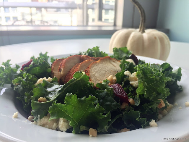 a plate of salad with kale, beets, vegan feta, walnuts and blackened chiecken with a small white pumpkin behind it