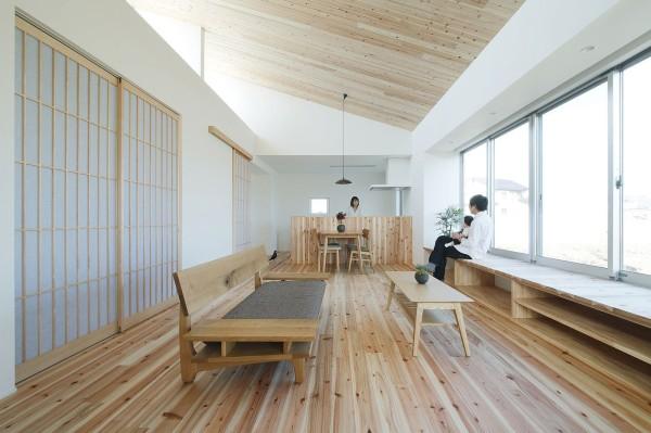 ห้องนั่งเล่นตกแต่งด้วยพื้นไม้