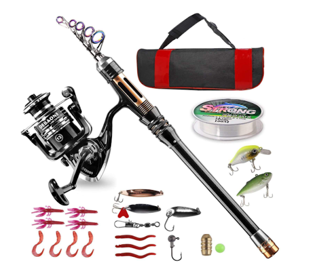 Bluefire Carbon Fiber Telescopic Fishing Pole and Reel Combo with Spinning Reel, Line, Lure, Hooks and Carrier Bag, Fishing Gear Set Fishing Rod Kit for Beginner Adults Saltwater Freshwater (2.1M)