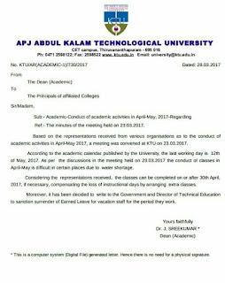 ANNOUNCEMENTS REGARDING APRIL AND MAY CLASSES FOR KTU STUDENTS - APJ Abdul Kalam Technological University