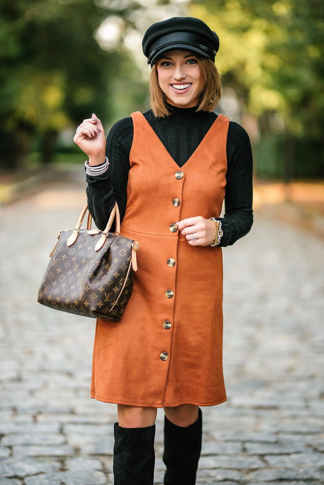 Brown & Black for Fall + How to style a Baker Boy Hat - Something Delightful Blog