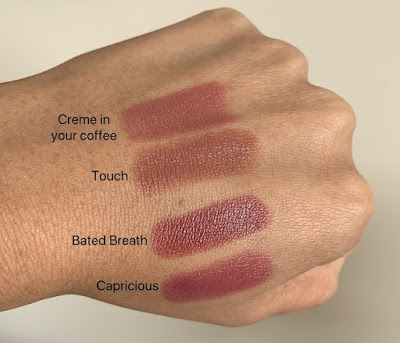 MAC Love Me Lipstick - Bated Breath compared to creme in your coffee, touch, and capricious with swatches on dark skin.