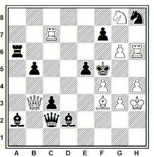 Problema de mate en 2 compuesto por Dieter Muller (Recomendado, 151° T.T. Die Schwalbe 1972)