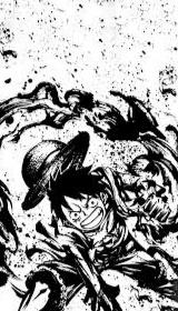 sketsa hitam putih One Piece Luffy