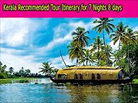 Kerala suggested Tour Itinerary for seven Nights eight days