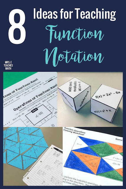 When you're teaching function notation, you need a great activity when the class notes are finished. Algebra students will love these practice activities instead of a typical worksheet. Function operations and compositions can be fun! #mrseteachesmath #functionnotation