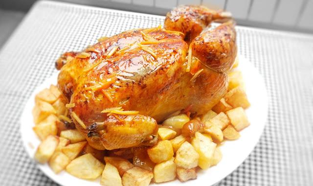 POLLO ASADO al horno 🍗🍋(con LIMÓN y NARANJA)🍋🍗 Tierno y jugoso.