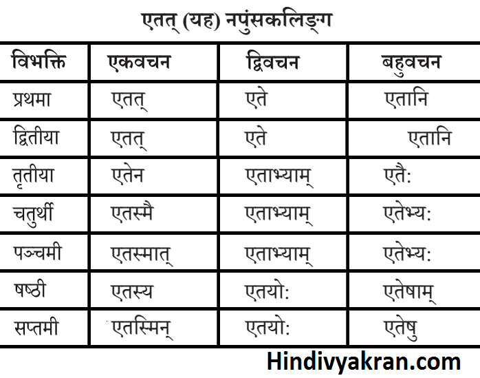 एतत्/एतद् शब्द रूप नपुंसकलिंग संस्कृत में – Etat Shabd Roop Napunsak Ling In Sanskrit