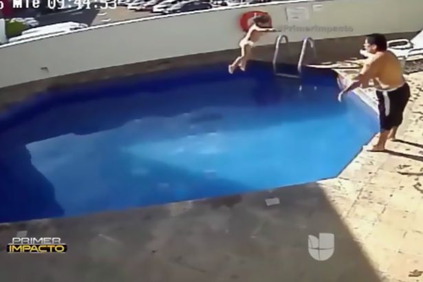 Shocking pics man caught on cctv drowning 3 year old stepdaughter in pool jailed for 100 years for Swimming in pool after shocking