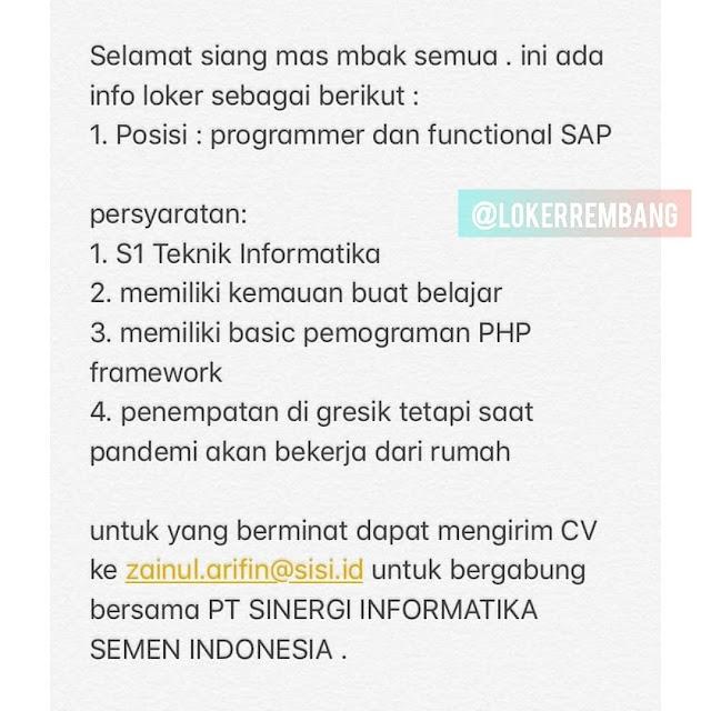 Lowongan Kerja Programmer PT. Sinergi Informatika Semen Indonesia Penempatan Gresik
