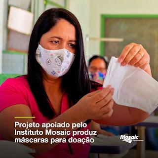 Mosaic Fertilizantes apoia projeto em Cajati  para produção de máscaras para doação