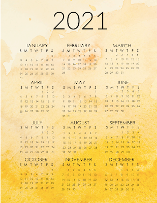 free 2021 printable year at a glance calendars